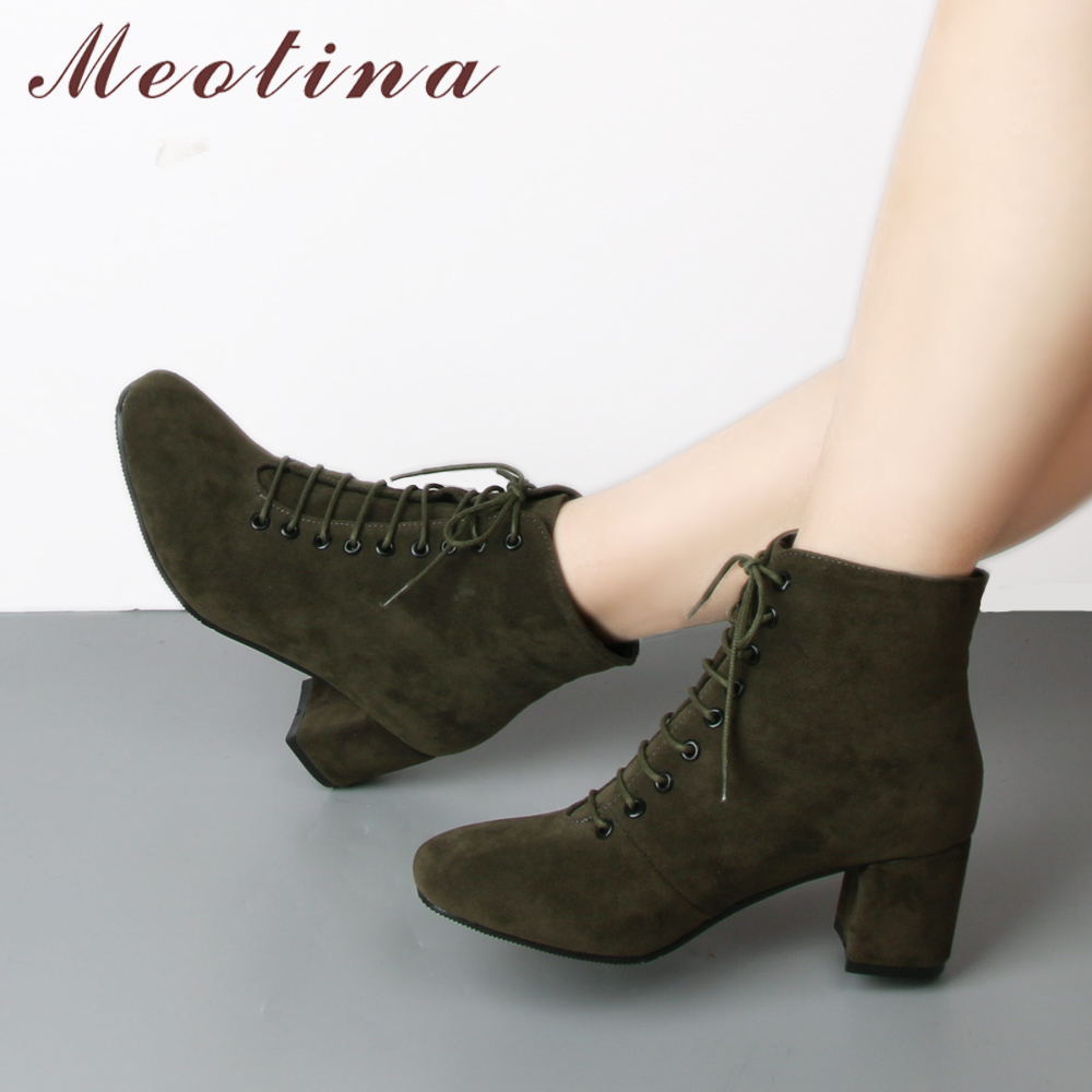 Meotina Ankle-Boots Shoes Block Lace-Up High-Heels Autumn Women Round-Toe for Ladies