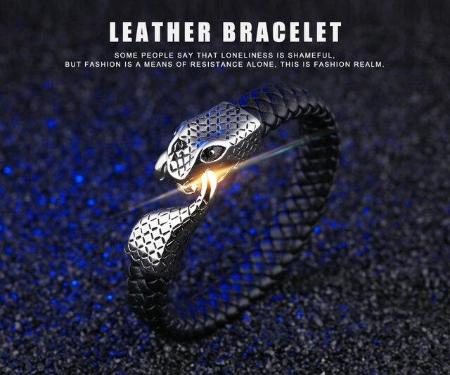 Браслеты манжеты мужские из натуральной кожи со змеиным плетением