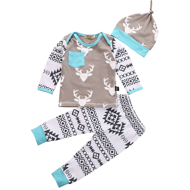 3PCS Newborn Baby Clothes 0-24M Infant s Deer Long Sleeve Top Shirt Floral Pant Hat Baby Boys Girls Clothing Set