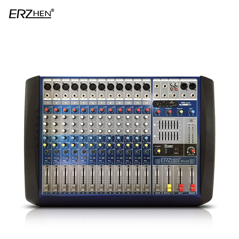 Audio Mixer Console W8000G12 Built-in amplifier  Professional Mixer Audio Amplifier Sound Processor 8 Channel USB