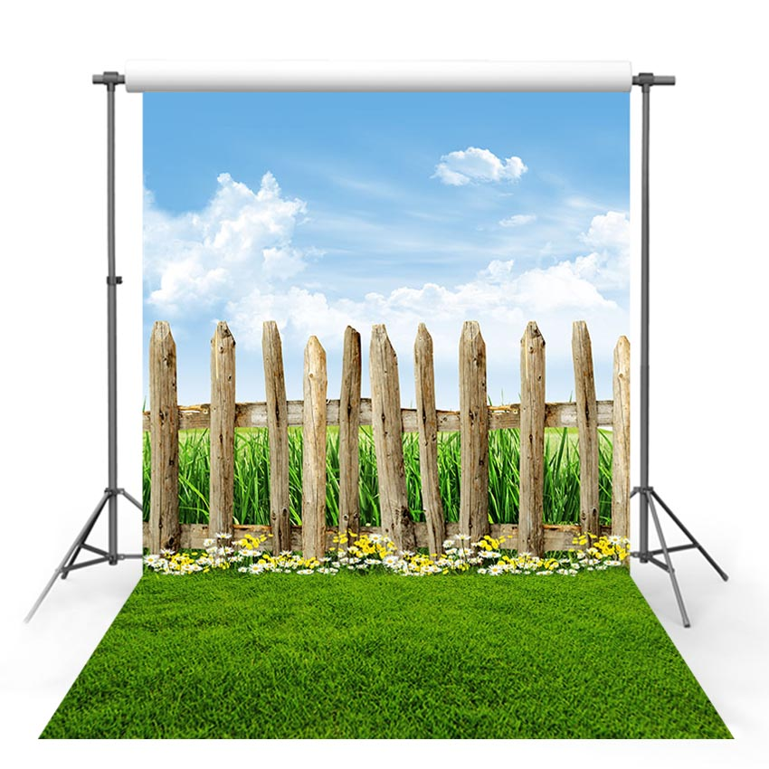 Vinyl Photography Backdrop Spring Season Green Lawn Forest Wildflower Tree Wood Fence Decor Children Background Photo Studio in Background from Consumer Electronics