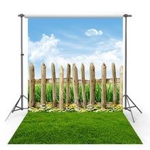Vinyl Photography Backdrop Spring Season Green Lawn Forest Wildflower Tree Wood Fence Decor Children Background Photo Studio