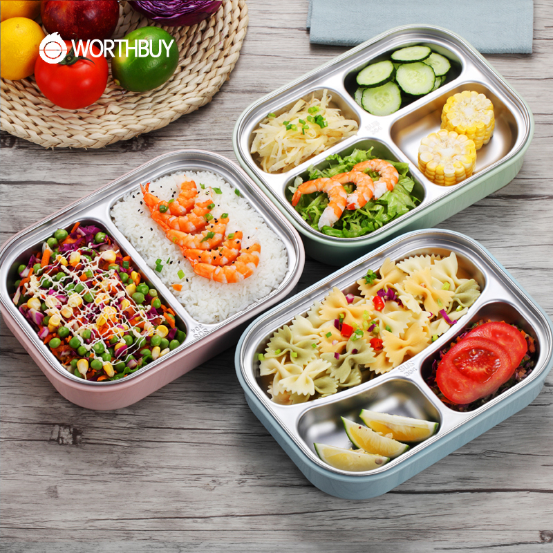 WORTHBUY 304 Stainless <font><b>Steel</b></font> Japanese Lunch Boxs With Compartments Microwave Bento Box For Kids School Picnic Food Container