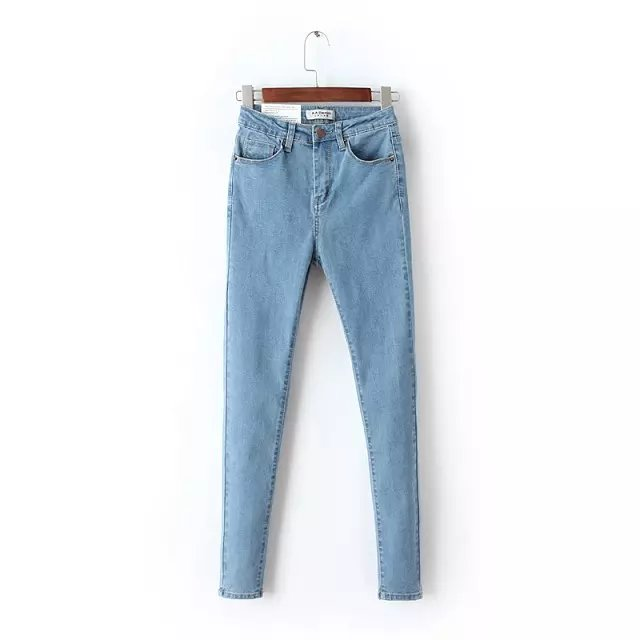 Women   Jeans   American Style High Waist Elastic Skinny Pencil Pants Denim Trousers Fashion Pantalones Vaqueros Mujer grey