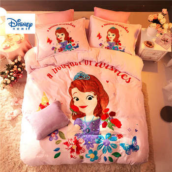 Pink flannel fleece Sofia Princess comforter bedding set queen size quilt cover twin 3d full bed linen soft coverlet Girls Kids