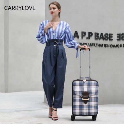 CARRYLOVE Noble travel, classic lattice16/18/20/22 inch PU Rolling Luggage Spinner brand Travel SuitcaseCARRYLOVE Noble travel, classic lattice16/18/20/22 inch PU Rolling Luggage Spinner brand Travel Suitcase