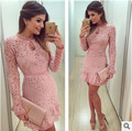 New Arrive Vestidos Women Fashion Casual Lace Dress 2016 O-Neck Long sleeve Pink Evening Party Dresses Vestido de festa