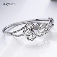 Elegant white bangle beautiful CZ jewelry for wedding party jewellery crystal Bracelet & bangles for women