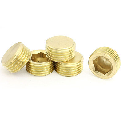 1/2 PT Thread Metal Internal Hex Head Socket Pipe Connector Gold Tone 5 Pcs hex bushing 1 2 pt female threaded straight oil air pipe connector