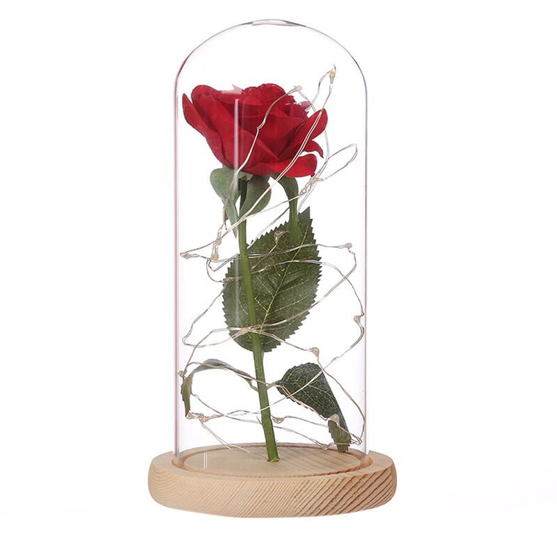 Red Silk Rose With LED String Light Preserved In Glass Dome On Wooden Base For Valentine lediary rose glass bottles led string night light diy home decor wooden base table lamp 2pcs rose flower valentine s day gift