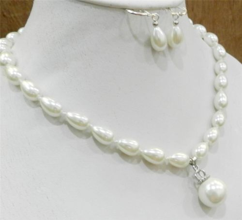 Teardrop White 9x13mm Akoya Cultured Shell Pearl Necklace Earring & 16mm Pendant