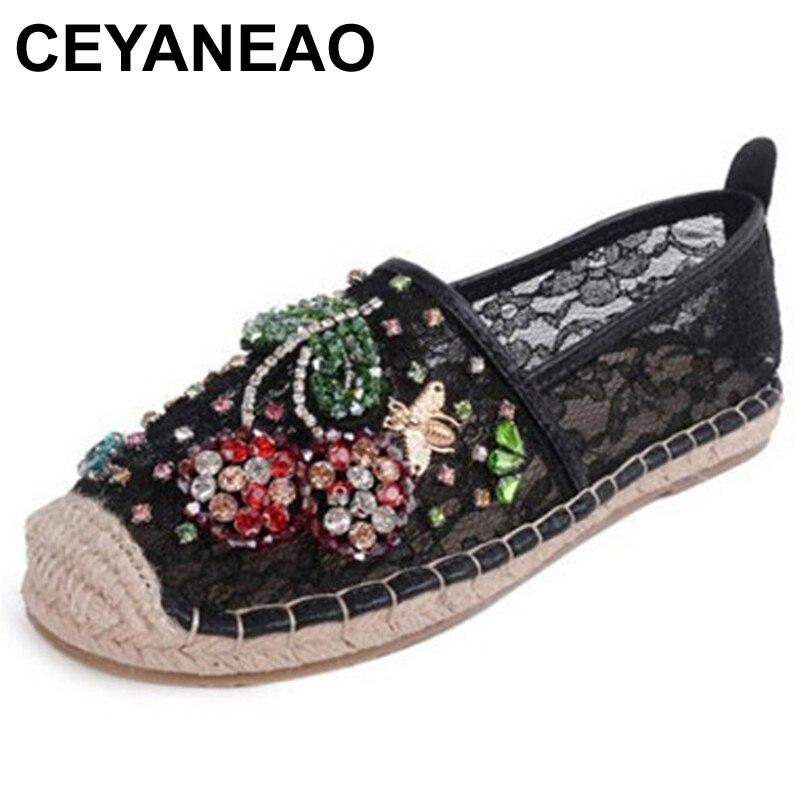 CEYANEAO 2018 femmes mocassins bout rond Espadrilles perle confortable chanvre bas femmes chaussures sans lacet chaussures nouveau Size37-40E932