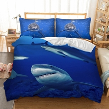 Wongsbedding Big Shark Animal Bedding Set HD Print Marine Fish Duvet Cover Set Twin Full Queen King Size 3PCS Customed Bedding