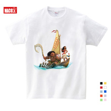 2019 Boys Summer Clothes Cotton T-shirts The Moana Boy Short Sleeve Round Neck Unisex Character Printing Pattern