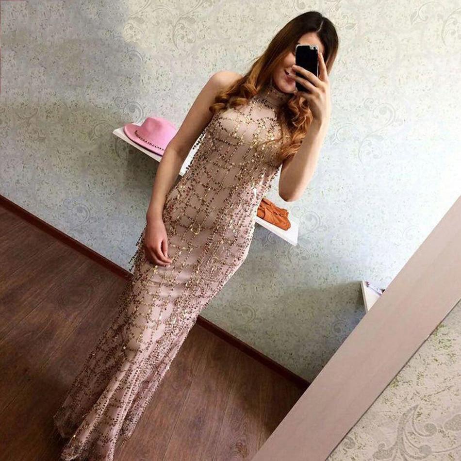Élégant Longue Maxi Piste Beige Sans Seamyla Robes Paillettes Moulante Party Femmes Manches Qualité Celebrity Haute Robe 4B0gwH