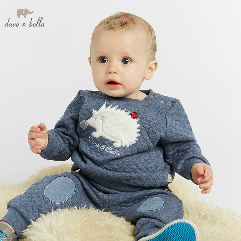 DBW8211 dave bella autumn baby boy fashion clothing sets pullover long sleeve suits children