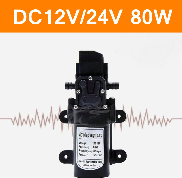 2017 Hot DC12V 24V 80W High Pressure Micro Diaphragm Water Pump Automatic Switch 5.5L/min Water Pump Home Car Garden Irrigation  цены