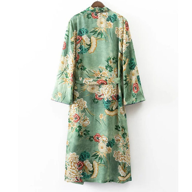 X192 women vintage floral print green color long design jacket kimono outwear ladies summer double pockets with belt jackets top 1