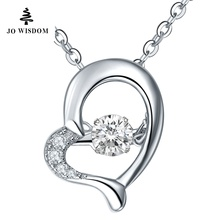 JO WISDOM Heart Shape Necklace Pendant for Women 925 Sterling Silver Silver Pendant with Silver Chain