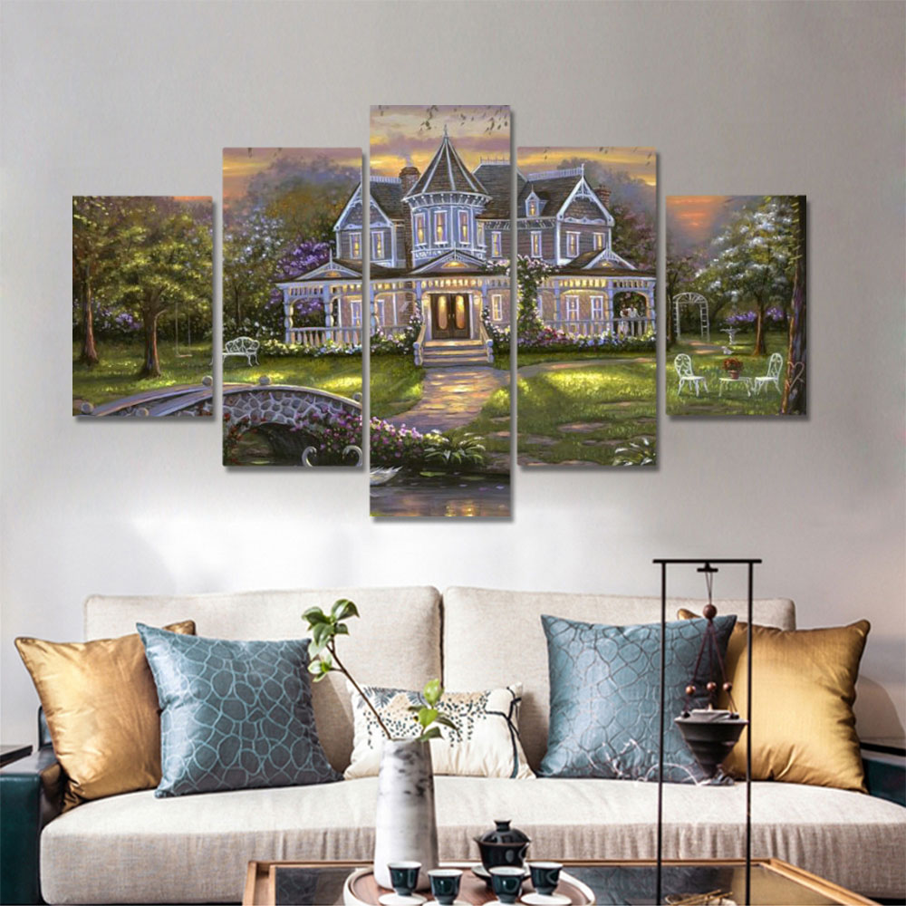 Unframed HD Canvas Prints Oil Painting Country House Twilight Scenery Prints Wall Pictures For Living Room Wall Art Decoration