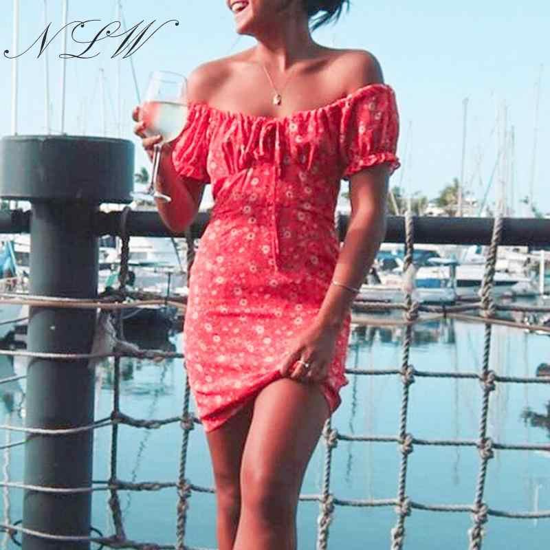 NLW кружевное красное платье с цветочным принтом и открытыми плечами, сексуальное облегающее короткое шифоновое платье 2019, летнее женское платье Vestidos