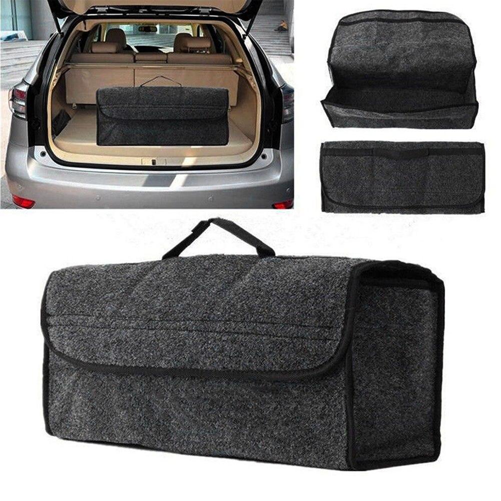 Portátil plegable bolsa de almacenamiento de tela de fieltro tronco organizador plegable SUV Auto Interior Tidying Container caja bolsas DX