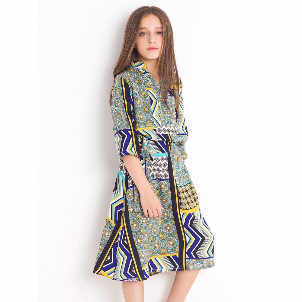 Girls Summer Real Shot Middle East Style Loose Floral Dresses Teenage Girls dress half sleeves Chiffon dress for 6 8 10 12 Years цена