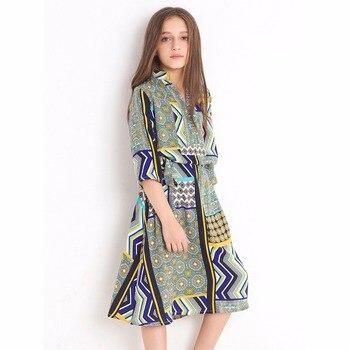Meninas verão real tiro médio oriente estilo solto vestidos florais adolescentes vestido meia mangas chiffon vestido para 6 8 10 12 anos