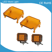 2 Pieces Amber Cover With 2 Pcs 3 Inch Led Work Light 18w Flood Beam Led
