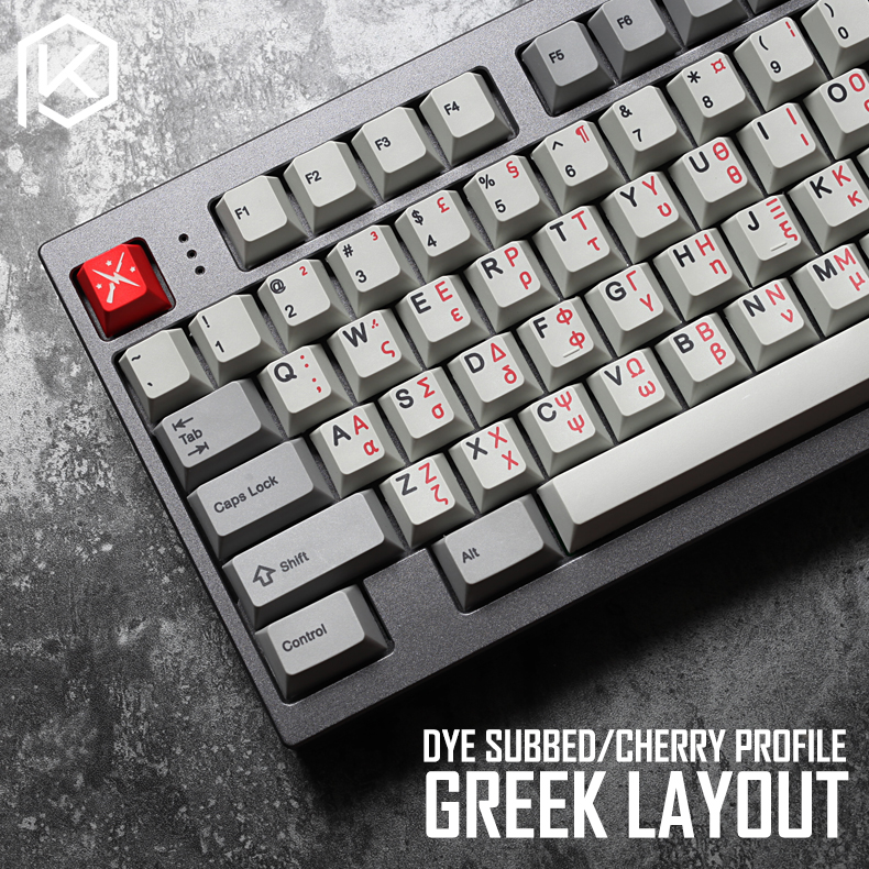 Kprepublic 139 Greek Root Font Language Letter Cherry Profile Dye Sub Keycap PBT For Gh60 Xd60 Xd84 Cospad Tada68 87 104 Fc660