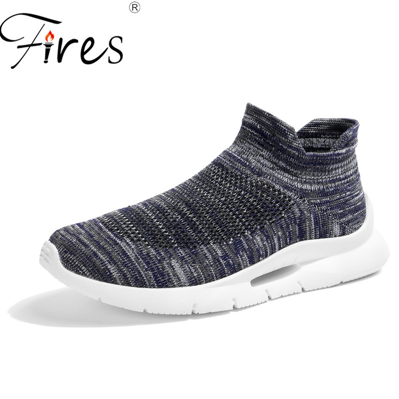 Fires Brand Summer Men Socks Sneakers Beathable Mesh Male Casual Shoes Slip on Sock Shoes Male Loafers Super Light Sock Trainers