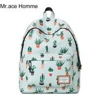 14 Laptop Backpack Female Student Cartoon Cactus Cute Bags For Teenage Girls School Bags Mori Style
