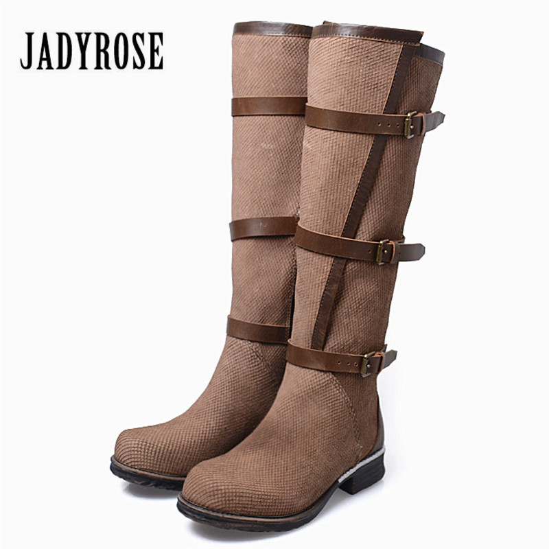 Jady Rose Genuine Leather Women Knee High Boots Vinatge Riding Boots Flat Shoes Woman Platform Botas Militares Straps Long Boot 3d wooden brain teaser puzzle colorful iq mind educational wood game toys for children adults