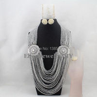 Amazing Long Design African Nigerian Beads Jewelry Set African Jewelry Sets For Bridal 2014 New Free
