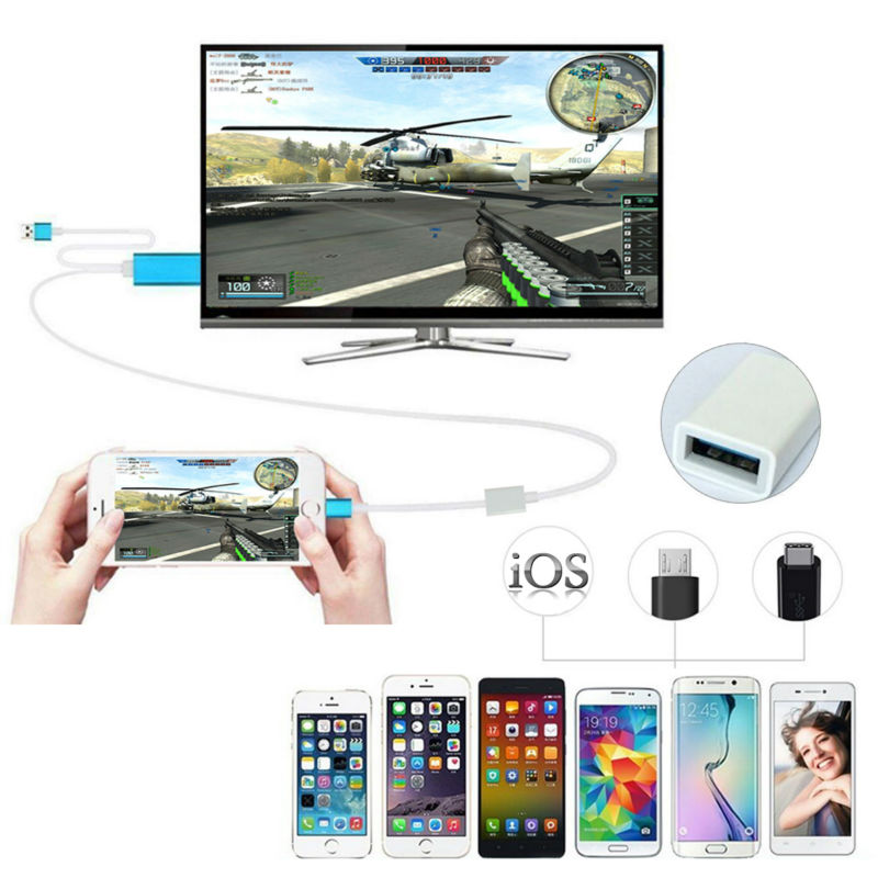 Currency HDMI Cable 2m AV HDTV TV Adapter USB Cable Connector TV Projector Monitor For Samsung S6 S7 NOTE3 NOTE5  Mobile phones