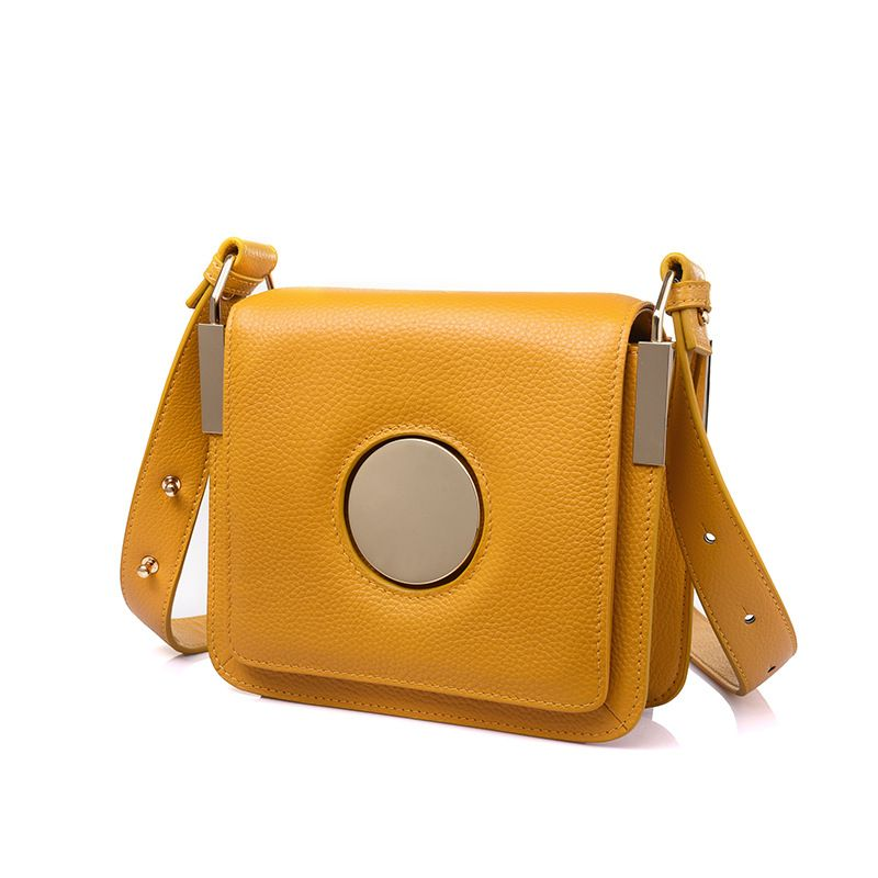 LOEIL Cowhide leather handbags European and American fashion trend small square bag ring shoulder diagonal package velvet bagthe european and american fashion small package pure color lock one shoulder inclined shoulder women2018messenger bag