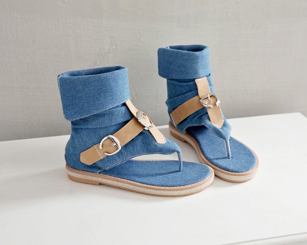 HTB1mn CLwHqK1RjSZFgq6y7JXXaH CDPUNDARI Ladies Denim Flat sandals for women Platform Sandals summer shoes woman Gladiator Sandals sandalias mujer 2019
