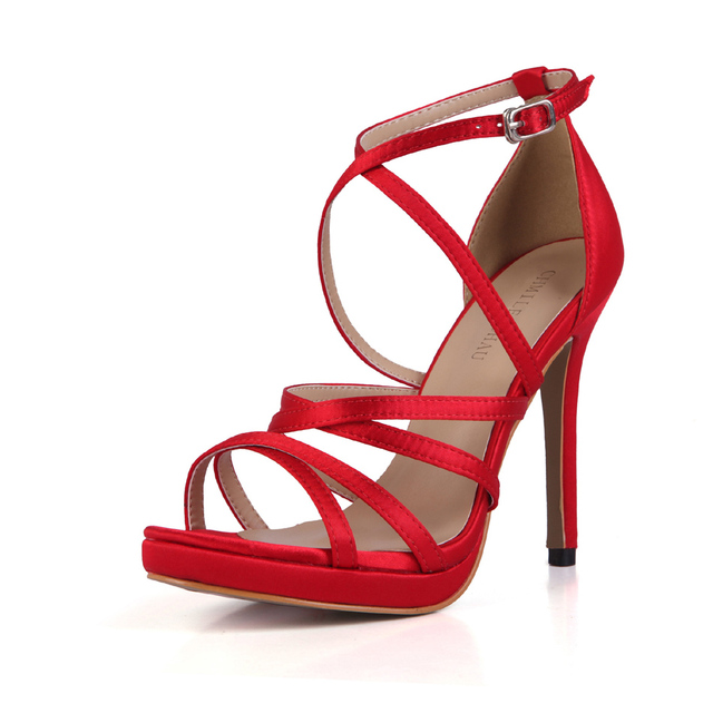 CHMILE CHAU Glitter Sexy Wedding Party Women Shoes Stiletto Heel Gladiator Rome Buckle Ankle Strap Bridal Sandals 0640A-4c 8