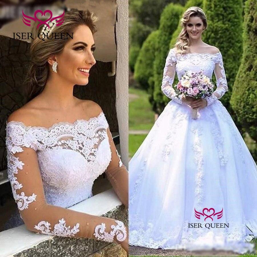 Чисто белое кружевное свадебное платье с длинным рукавом, Новое поступление 2019, свадебное платье с открытыми плечами, свадебное платье es W0620