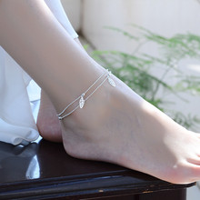 TJP New Fashion Girl 925 Silver Bracelets For Women Jewelry Trendy Double Layer Leaf Female Anklets Accessories Hot Bijou
