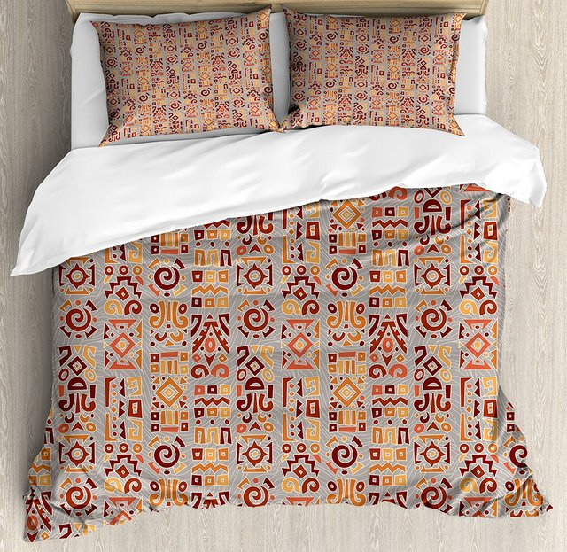 Duvet Cover Set Ethnic African Geometrical Pattern With Doodle Art - Geometrical-shapes-on-bedding