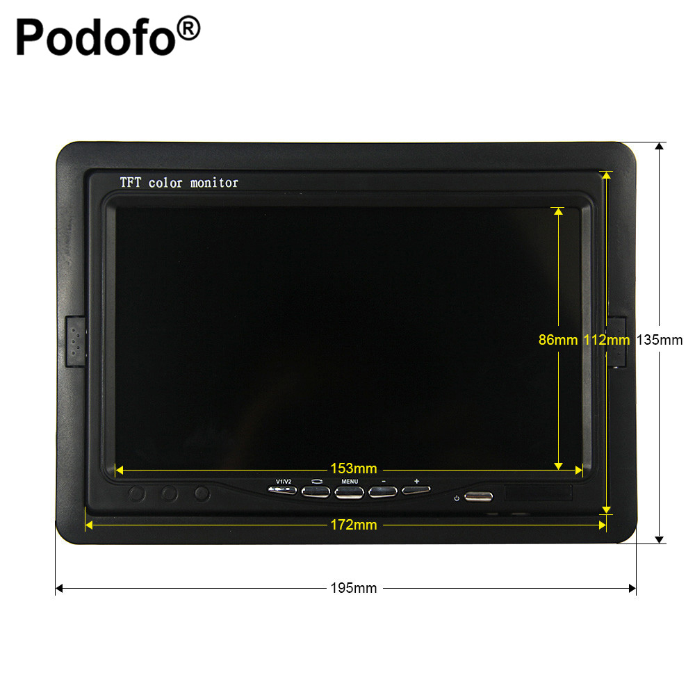 Podofo 7 Color TFT LCD DC 12V Car Monitor Rear View Headrest Display With 2 Channels Video Input For DVD VCD Reversing Camera podofo 7 inch 4 split screen car monitor 4 channels tft lcd display dc 12v for reversing camera system car rearview monitor