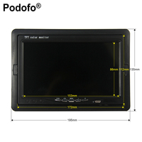 Podofo 7 Color TFT LCD DC 12V Car Monitor Rear View Headrest Display With 2 Channels Video Input For DVD VCD Reversing Camera