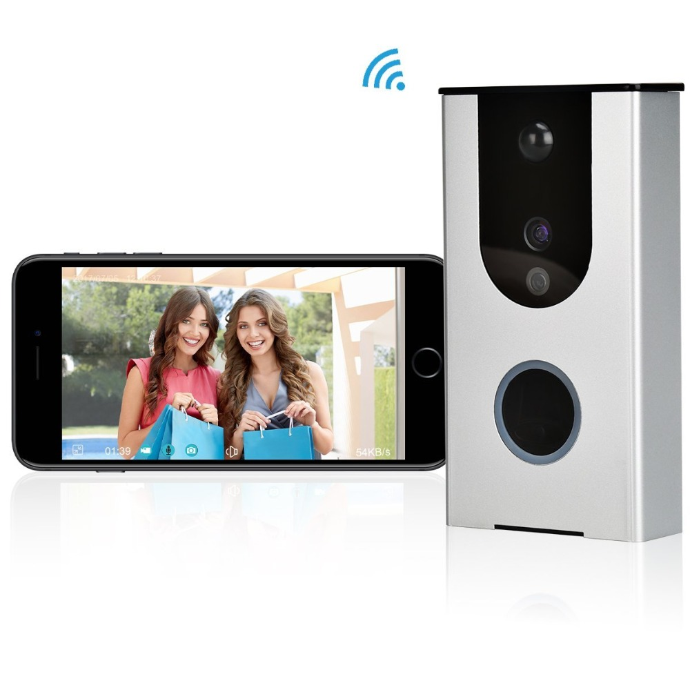 (1Set)Smart WIFI Doorbell Wireless Door Phone Built-in Lithium Battery Security Camera Infrared Detector Function snapshots APPs