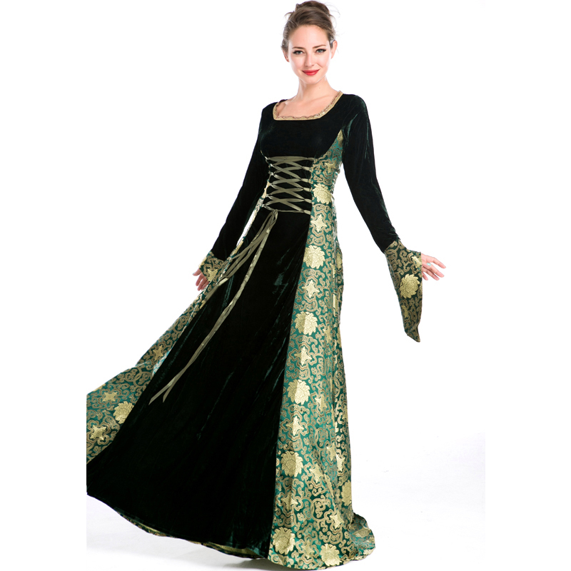 Halloween Medieval Queen Cosplay Costume Dress Renaissance Dress Lace Up Vintage Gothic Women Witch Cosplay Dresses Retro Gown halloween queen cosplay dress
