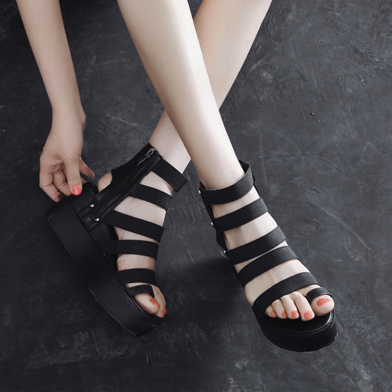 YMECHIC Summer 2019 Retro Gothic Gladiator Wedge Sandals Women Narrow Band Platform Super High Wedges Heels Creeper Punk Shoes