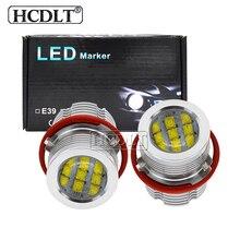 2021 חדש HCDLT 2*60W 120W E39 LED מלאך עיניים Halo טבעת לבן צהוב 60W LED ערכת סמן עבור E39 E60 E63 E65 E53 E83 E87 LED סמן