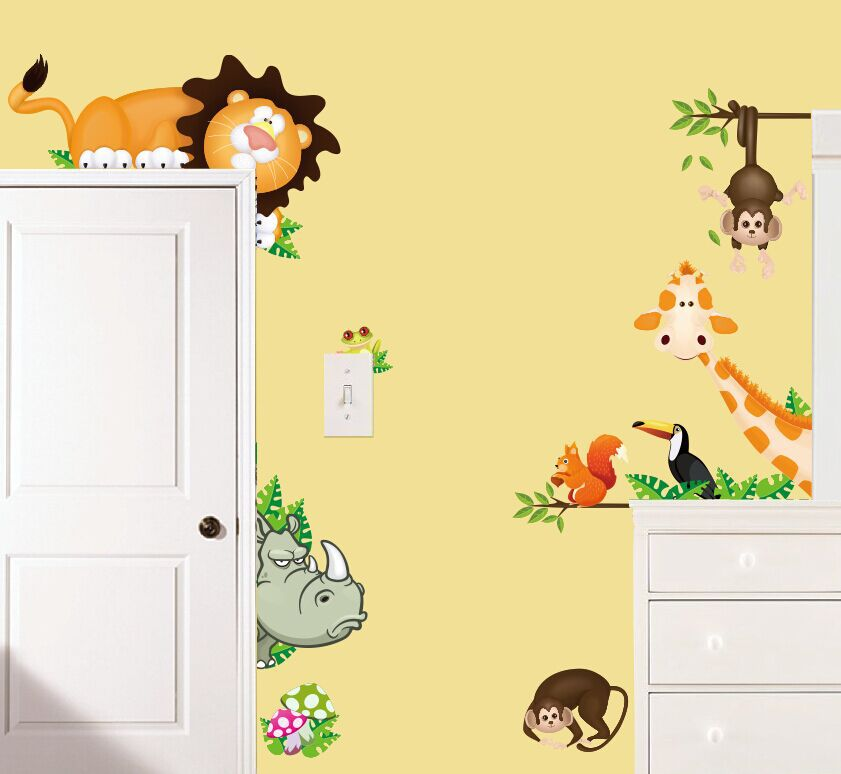Jungle Wild dinosaur Lion Monkey Giraffe Cartoon Wall Stickers For ...