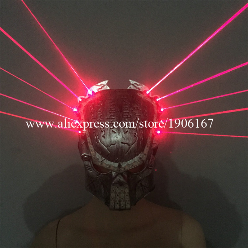 Mode Led lumineux rouge Laserman spectacle masque illuminer scène Performance chapeaux fête Halloween masques