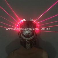 Thời trang Led Dạ Quang Màu Đỏ Laserman Cho Thấy Mặt Nạ Chiếu Sáng Hiệu Suất Giai Đoạn Mũ Nón Bên Halloween Mặt N